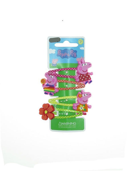 Peppa Pig Hair Clips 4 Hair Snaps for Girls Flower Rainbow Theme