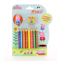 George Pig 8 Triangular Colouring Pencils Sharpener Pencil Topper Peppa Pig