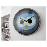 Kikkerland Wall Clock Night Owl Eyes Glow In The Dark Children Kids Clock