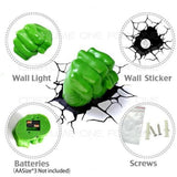 Hulk Right Fist 3D Deco Light Hulk Hand Wall Night LED Lamp for Kids Avengers