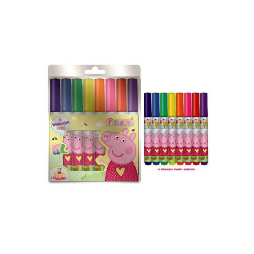 Peppa Pig Washable Markers Stationery 8 Chunky Colouring Pens