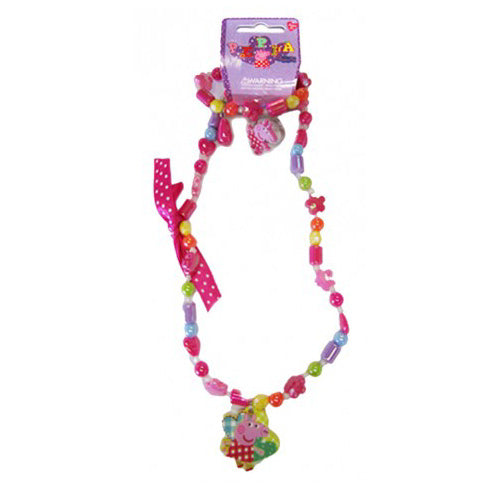 Peppa Pig Necklace, Bracelet and Ring Set for Girls Patchwork Theme