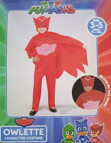 PJ Masks Owlette Costume 3-5 Years Glow In The Dark Dress Up for Kids /Children