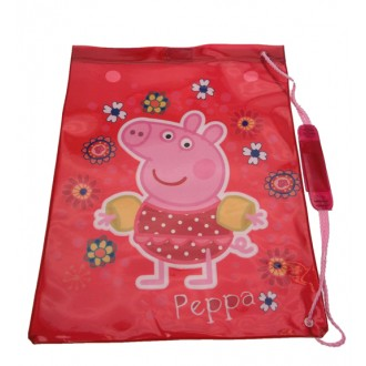 Peppa Pig Tropical Drawstring Swim Bag Red Waterproof Beach Kids School Satchel