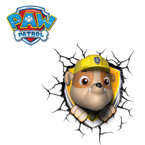 Paw Patrol Rubble 3D Deco Light Wall Night LED Lamp for Kids Nickelodeon