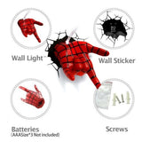 Spiderman Hand 3D Deco Light Spidey Hand Wall Night LED Lamp for Kids Spider-Man