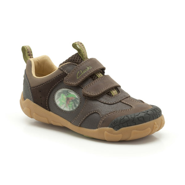 Clarks Stompo saurus STOMPOJAW Children Kids Boys Fashion Shoes Dinosaur-BROWN-Size UK 8 G