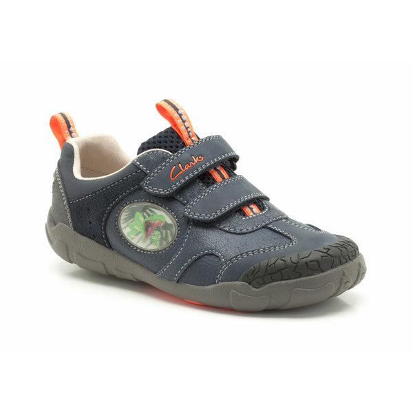 Clarks Stompo saurus STOMPOJAW Children Kids Boys Fashion Shoes Dinosaur-NAVY-Size UK 8 G
