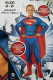 Superman Costume Deluxe Dress Up Padded Muscles Size 6-8 years for Kids