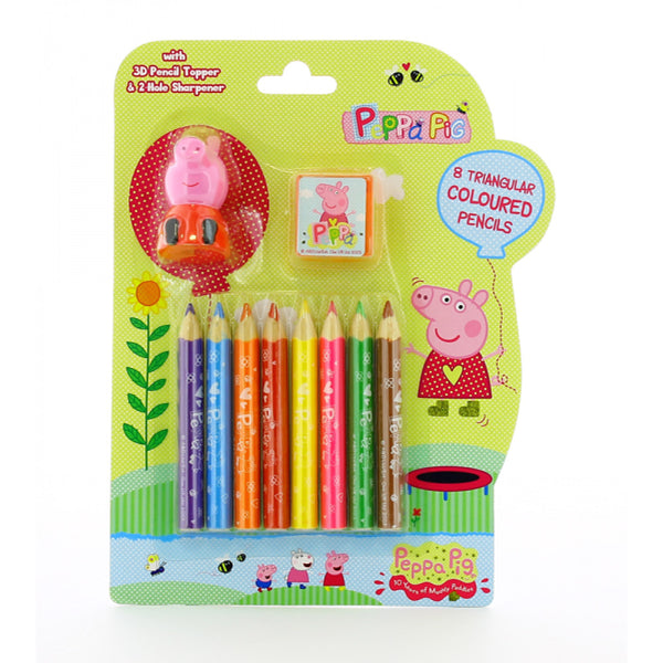 Peppa Pig 8 Triangular Colouring Pencils Sharpener Pencil Topper