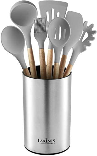 Stainless Steel Kitchen Utensil Holder, Kitchen Caddy, and Utensil Organizer (utensils not included) - Aiko 360