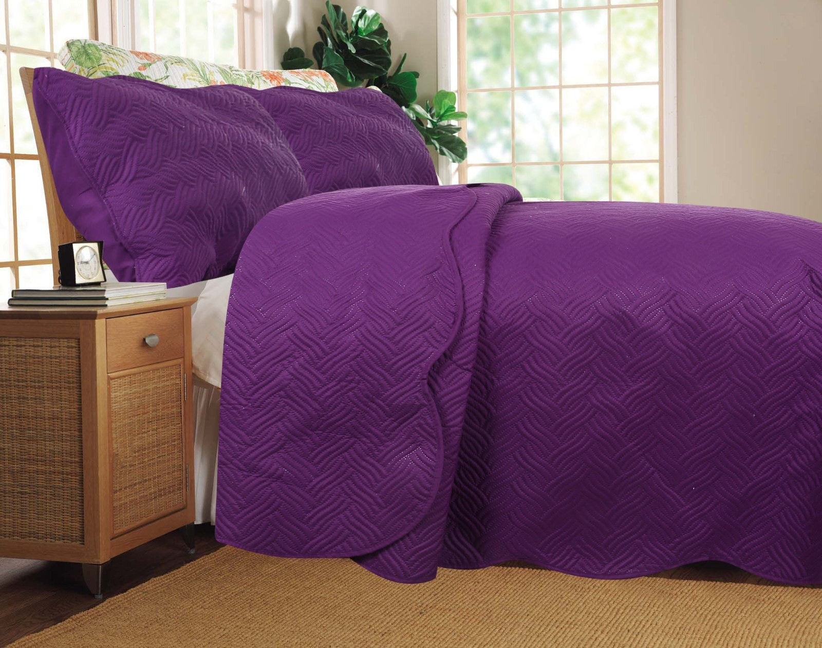 Solid Purple Thin & Lightweight Quilted Coverlet Bedspread Set - Aiko 360
