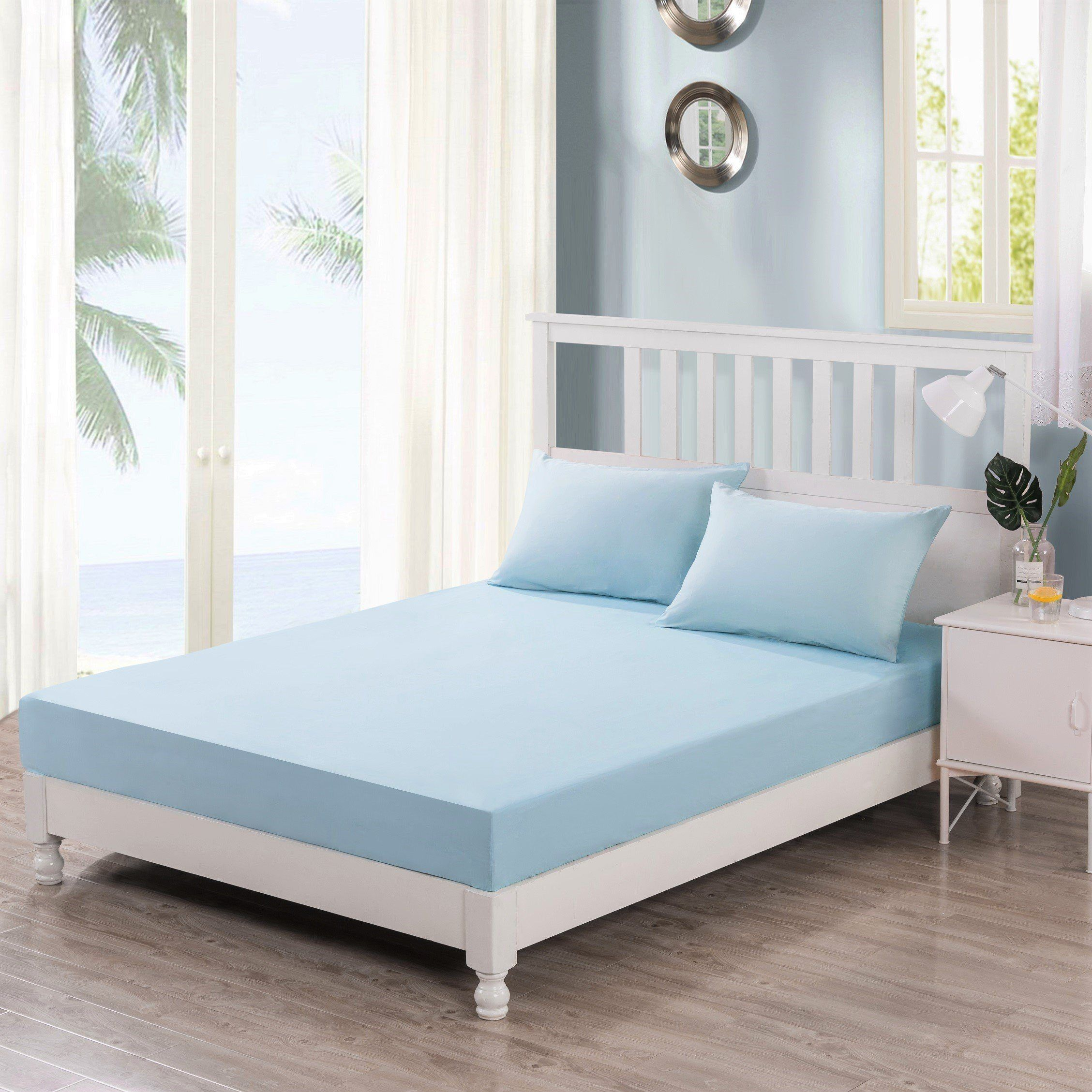 DaDa Bedding Baby Blue 100% Cotton Fitted Bed Sheet & W/Pillow Cases Set - Aiko 360