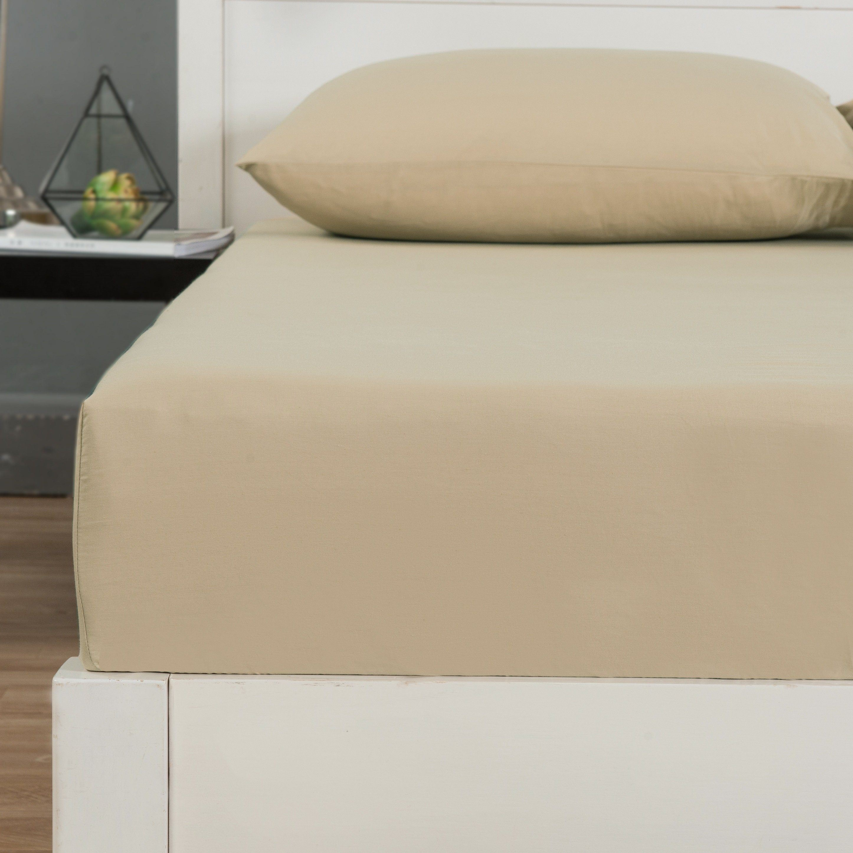 DaDa Bedding Luxury 100% Cotton Beige Fitted Bed Sheet & Pillow Cases Set - Aiko 360