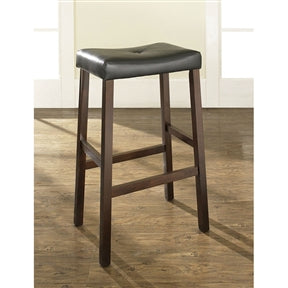 Upholstered Faux Leather Saddle Seat Barstool in Mahogany Set of 2 - Aiko 360