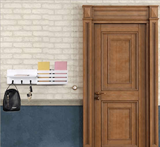 Mail Holder and Coat Key Rack Wall Shelf with 3 Hooks