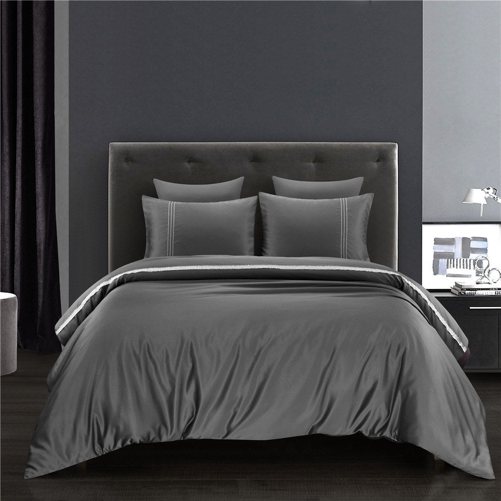 Premium Luxury Silk Satin Queen Duvet Cover Set with Silver Ribbons