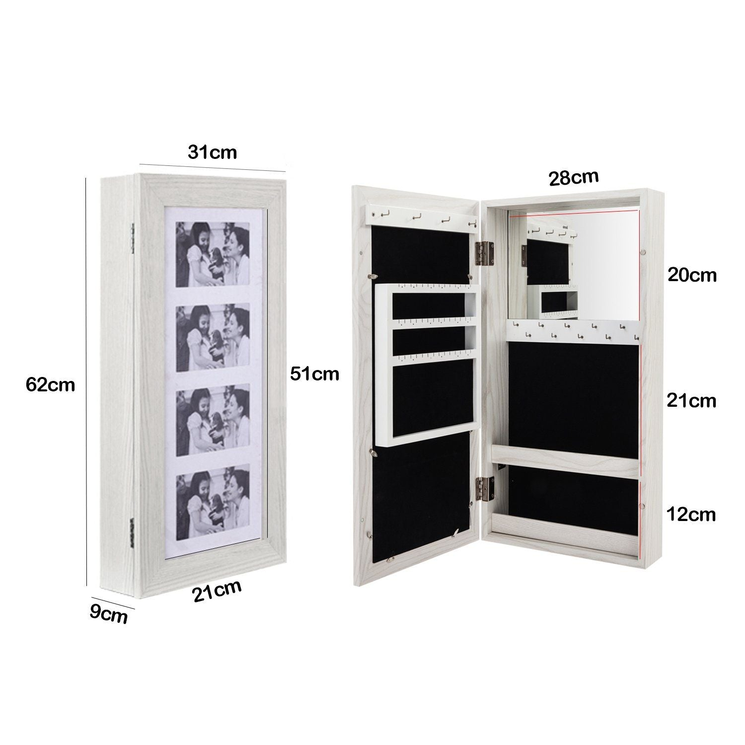 Jewelry Storage Cabinet with Wall Mount and Mirror