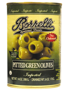 Pitted Green Olives (Medium), 14oz (398g)