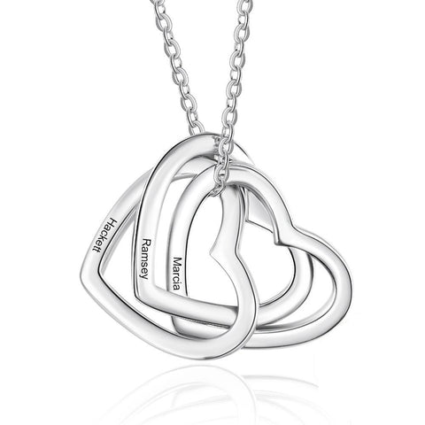 SILVER NECKLACES WITH 3 HEARTS CUSTOM INTERTWINED