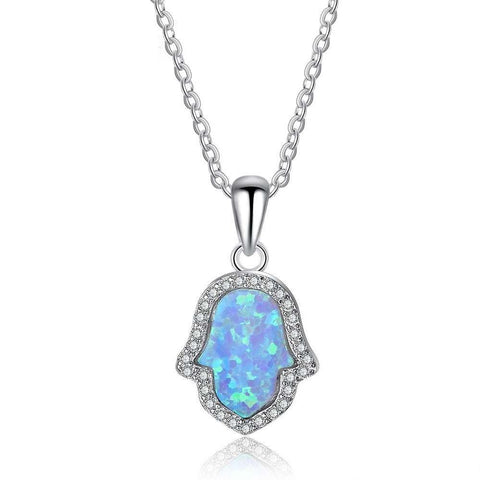 Silver Necklace with hamsa hand opal stone pendant