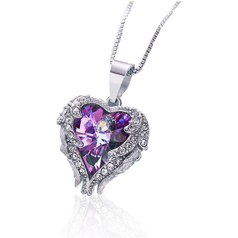 SILVER NECKLACE WITH CRYSTAL HEART ANGEL WING PENDANTS