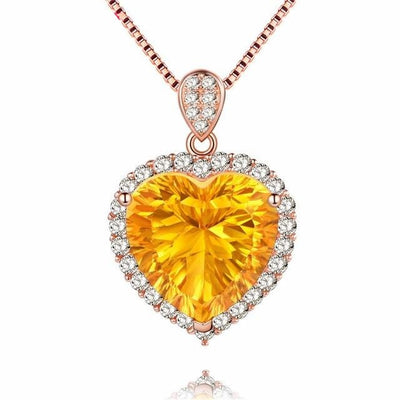 Almei Natural Gemstone Citrine Halo Necklace & Pendant 925 Sterling Silver Rose Gold Color Fine Jewelry with Chain Box 40%FN016 Jewelry at Jewels Genie