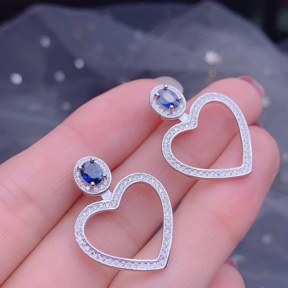 Almei Natural Sapphire Big Hollow Love Heart Stud Earrings for Women,925 Sterling Silver, 4*5mm*2 Pcs Gemstone FR284 Jewelry at Jewels Genie