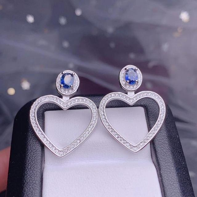 Almei Natural Sapphire Big Hollow Love Heart Stud Earrings for Women,925 Sterling Silver, 4*5mm*2 Pcs Gemstone FR284 Jewelry at Jewels Genie Silver sapphire United States
