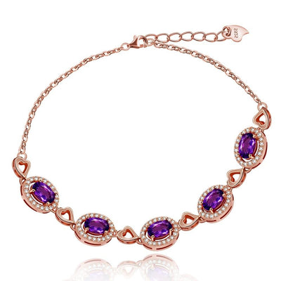 Amethyst Gemstone Silver Bracelet Jewelry at Jewels Genie