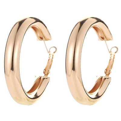 Big Round Stainless Steel Hoop Earrings Jewelry at Jewels Genie Color: Gold USA