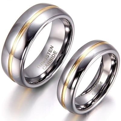 BONISKISS Couple Inset Tungsten Carbide Ring for Anniversary Engagement Wedding Rings 6/8 mm Bague Femme Lovers' Jewelry Ring Jewelry at Jewels Genie