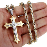 Byzantine Style Chain Cross Pendant - jewels-genie-store - jewelry