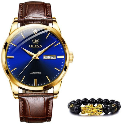 Classic Mechanical Leather Watch Jewelry at Jewels Genie Color: Blue USA