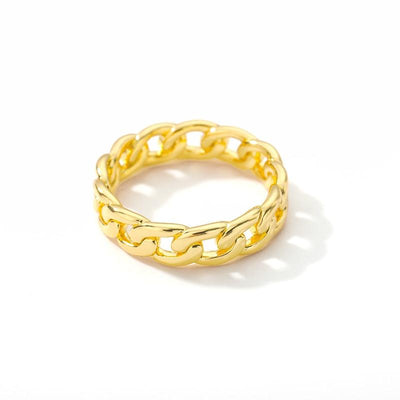 Cuban Chain Shape Stainless Steel Ring Jewelry at Jewels Genie Size: 9 Color: Gold USA
