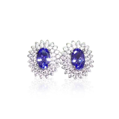 December Birthstone Natural Tanzanite Silver Earrings Jewelry at Jewels Genie