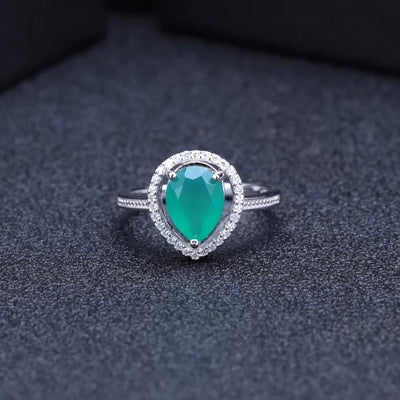 GEM'S BALLET 1.57Ct Natural Green Agate Gemstone Ring Solid 925 Sterling Silver Vintage Engagement Rings for Women Fine Jewelry Jewelry at Jewels Genie