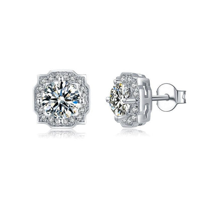 GEM'S BALLET 925 Sterling Silver Classic Halo Stud Earrings 1.0Ct D Color VVS1 Moissanite Diamond Earrings For Women Wedding Jewelry at Jewels Genie
