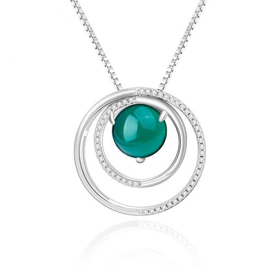 GEM'S BALLET 925 Sterling Silver Double Circle Pendant Shiny Paved Natural Green Agate Gemstone Pendant Necklace For Women Jewelry at Jewels Genie