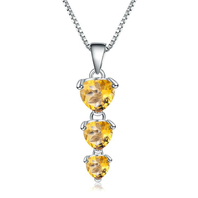 GEM'S BALLET 925 Sterling Silver Jewelry 2.43Ct Natural Citrine Gemstone Love Heart Pendant Necklace for Women Wedding Jewelry Jewelry at Jewels Genie