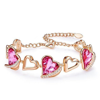 Heart Angel Wing Chain Bracelets Jewelry at Jewels Genie Color: Pink Gold USA