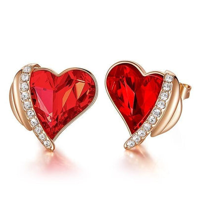 Heart Crystal from Swarovski  Angel Wings Stud Earrings - jewels-genie-store - jewelry