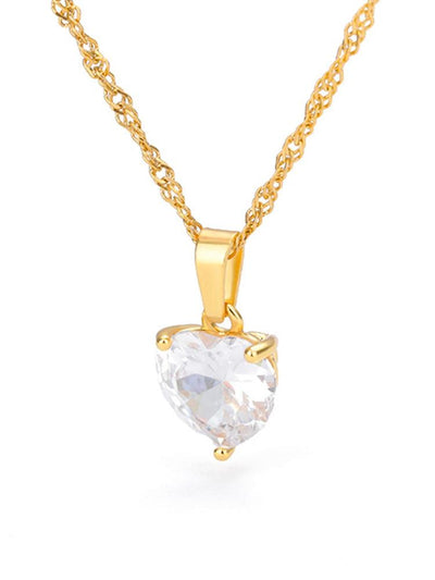 Heart Necklaces For Women Stainless Steel Gold Chain Zircon Heart Pendant Necklace Lover Clavicle Choker Valentine Jewelry Gift Jewelry at Jewels Genie