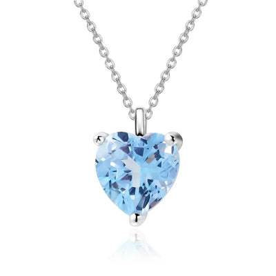 Heart Shape Blue Topaz Silver Pendant Necklace Jewelry at Jewels Genie