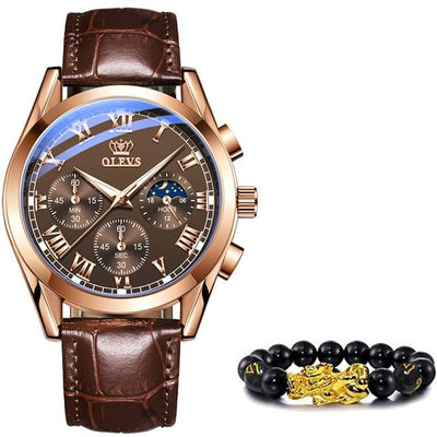 Leather Strap Quartz Watch Jewelry at Jewels Genie Color: Full Brown USA