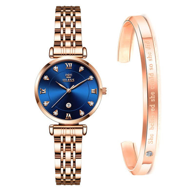 Luxury Women Quartz Wristwatch Jewelry at Jewels Genie Color: Blue/Rose Gold USA