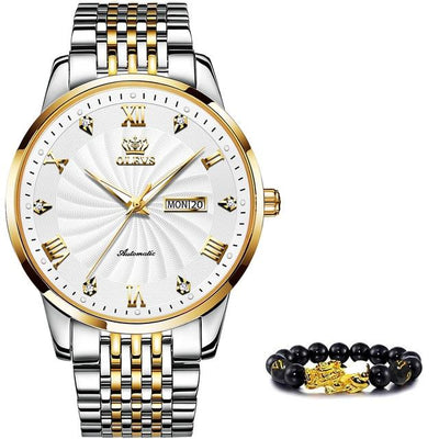 Men Stainless Steel Automatic Watch Jewelry at Jewels Genie Color: White/Gold Silver USA