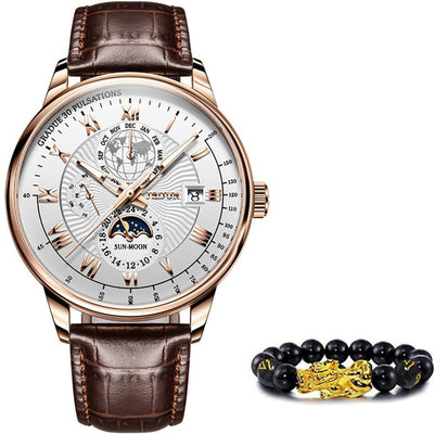 Men's Automatic Mechanical Watch Jewelry at Jewels Genie Color: White-Rose Gold/Brown USA