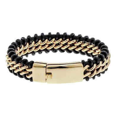 Men's Leather & Stainless Steel Bracelet Jewelry at Jewels Genie