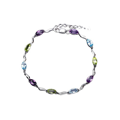 Mix Gemstones Silver Bracelets Jewelry at Jewels Genie